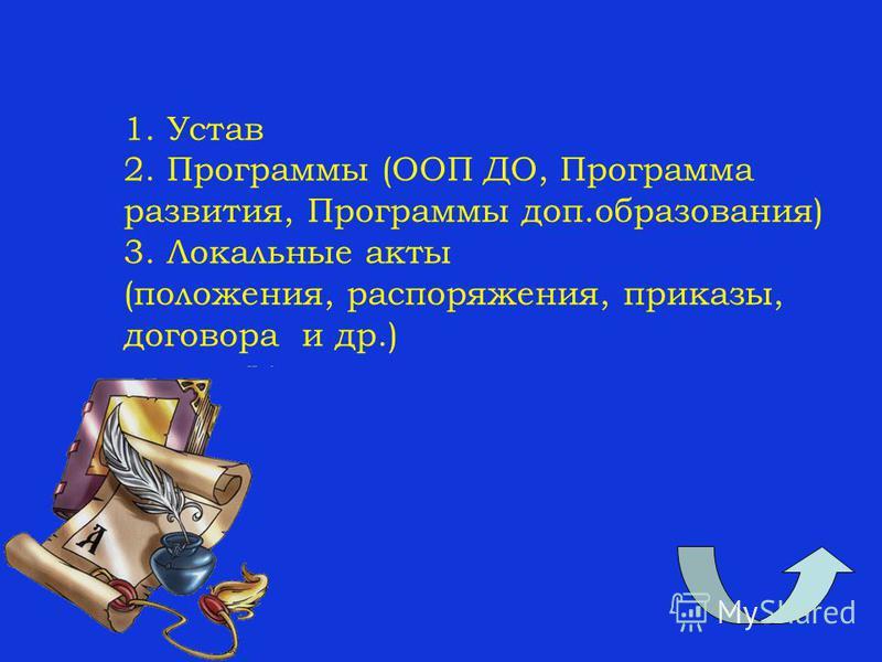1. Устав 2. Программы (ООП ДО, Программа развития, Программы доп.образования) 3. Локальные акты (положения, распоряжения, приказы, договора и др.)