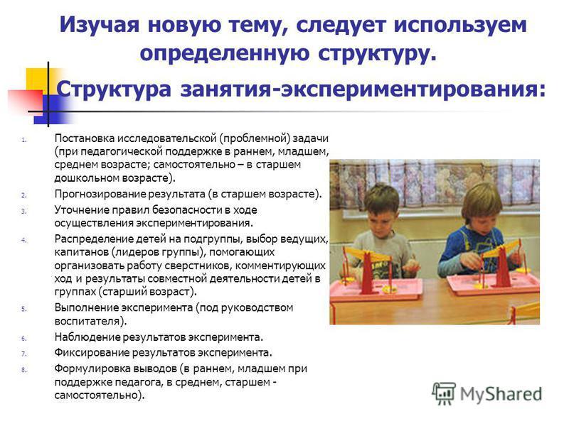 Изучая новую тему, следует используем определенную структуру. Структура занятия-экспериментирования: 1. Постановка исследовательской (проблемной) задачи (при педагогической поддержке в раннем, младшем, среднем возрасте; самостоятельно – в старшем дош