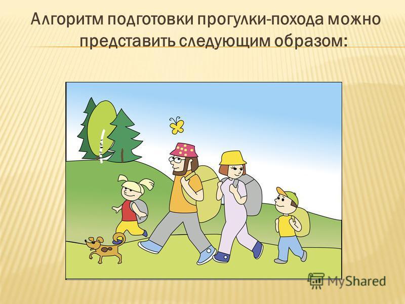 Алгоритм подготовки прогулки-похода можно представить следующим образом: