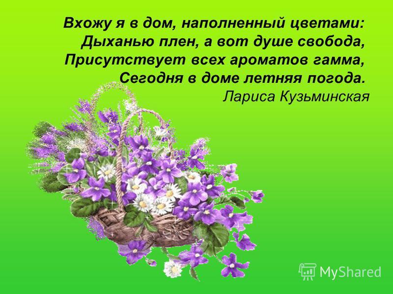 Вхожу я в дом, наполненный цветами: Дыханью плен, а вот душе свобода, Присутствует всех ароматов гамма, Сегодня в доме летняя погода. Лариса Кузьминская