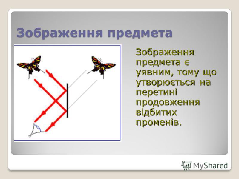 Зображення предмета Зображення предмета є уявним, тому що утворюється на перетині продовження відбитих променів.
