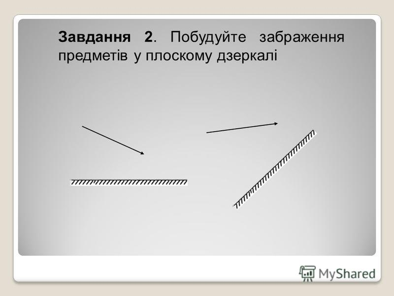 Завдання 2. Побудуйте забраження предметів у плоскому дзеркалі