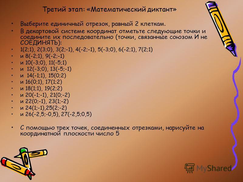 Третий этап: «Математический диктант» Выберите единичный отрезок, равный 2 клеткам. В декартовой системе координат отметьте следующие точки и соедините их последовательно (точки, связанные союзом И не СОЕДИНЯТЬ): 1(2;1), 2(3;0), 3(2;-1), 4(-2;-1), 5(