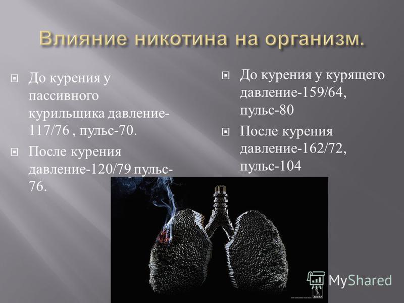 До курения у пассивного курильщика давление - 117/76, пульс -70. После курения давление -120/79 пульс - 76. До курения у курящего давление -159/64, пульс -80 После курения давление -162/72, пульс -104