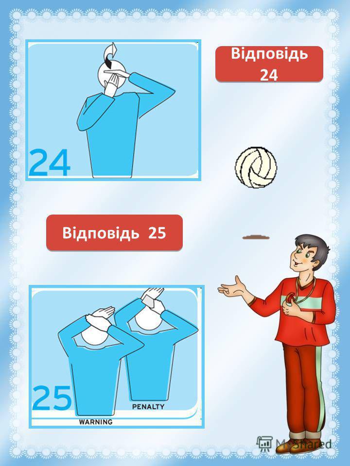 Касание мяча Відповідь 24 Предупреждение за задержку времени Відповідь 25