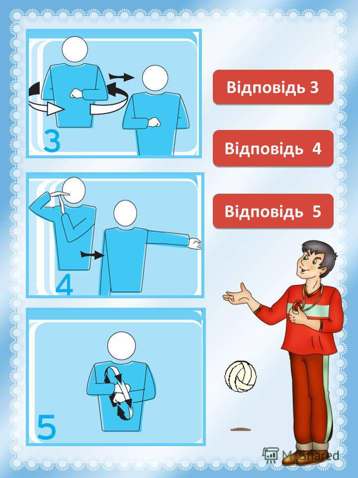 Замена Смена сторон площадки Відповідь 3 Перерыв (тайм-аут) Відповідь 4 Відповідь 5
