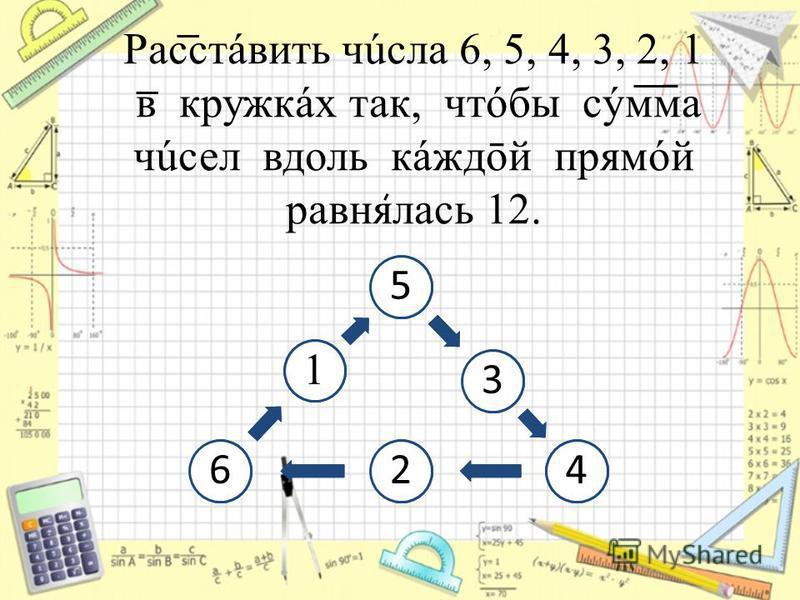 Расстáвить числа 6, 5, 4, 3, 2, 1 в кружках так, чтобы сумма чисел вдоль кáждōй прямой равнялась 12. 53426 1