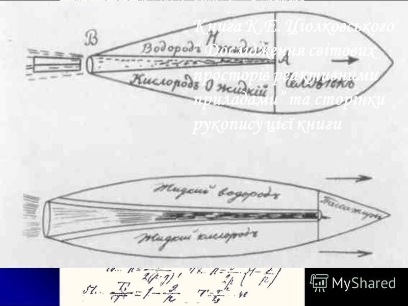Книга К.Е. Ціолковського Дослідження світових просторів реактивними приладами та сторінки рукопису цієї книги
