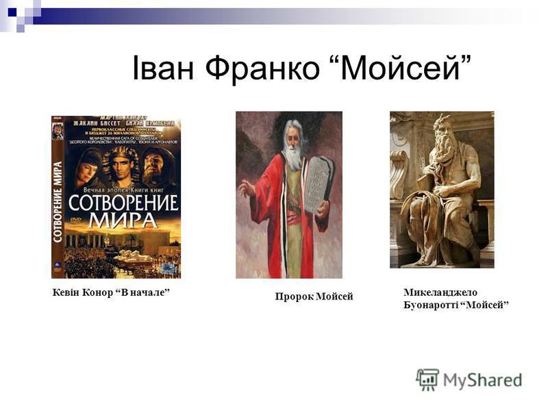 Іван Франко Мойсей Кевін Конор В начале Пророк Мойсей Микеланджело Буонаротті Мойсей