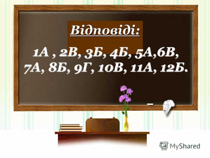 Відповіді: 1А, 2В, 3Б, 4Б, 5А,6В, 7А, 8Б, 9Г, 10В, 11А, 12Б.