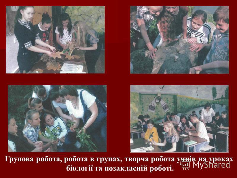 Групова робота, робота в групах, творча робота учнів на уроках біології та позакласній роботі.