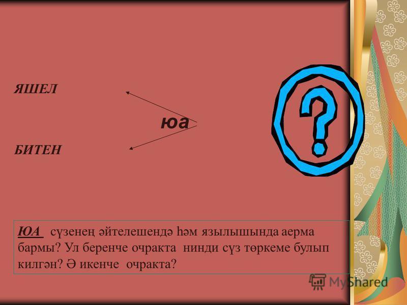 ЯШЕЛ юа БИТЕН ЮА сүзенең әйтелешендә һәм язылышында аерма бармы? Ул беренче очракта нинди сүз төркеме булып килгән? Ә икенче очракта?