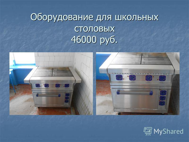 Оборудование для школьных столовых 46000 руб.
