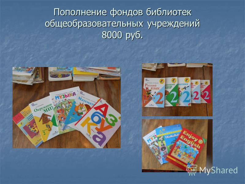 Пополнение фондов библиотек общеобразовательных учреждений 8000 руб.