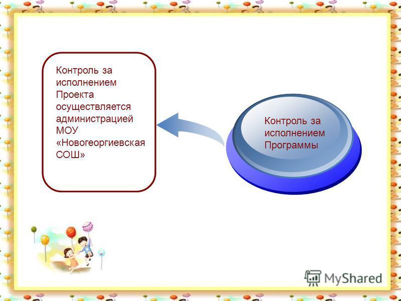 Контроль за исполнением Проекта осуществляется администрацией МОУ «Новогеоргиевская СОШ» Контроль за исполнением Программы