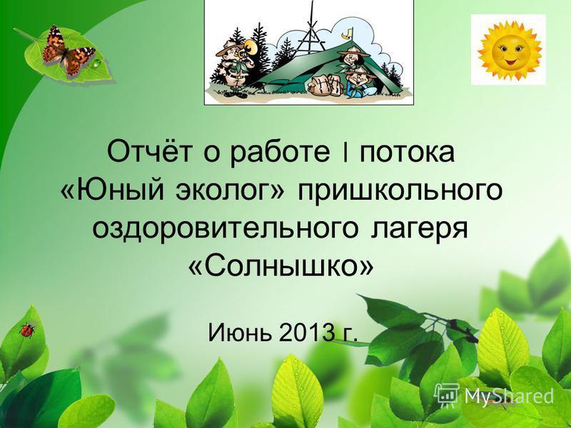 Отчёт о работе ׀ потока «Юный эколог» пришкольного оздоровительного лагеря «Солнышко» Июнь 2013 г.