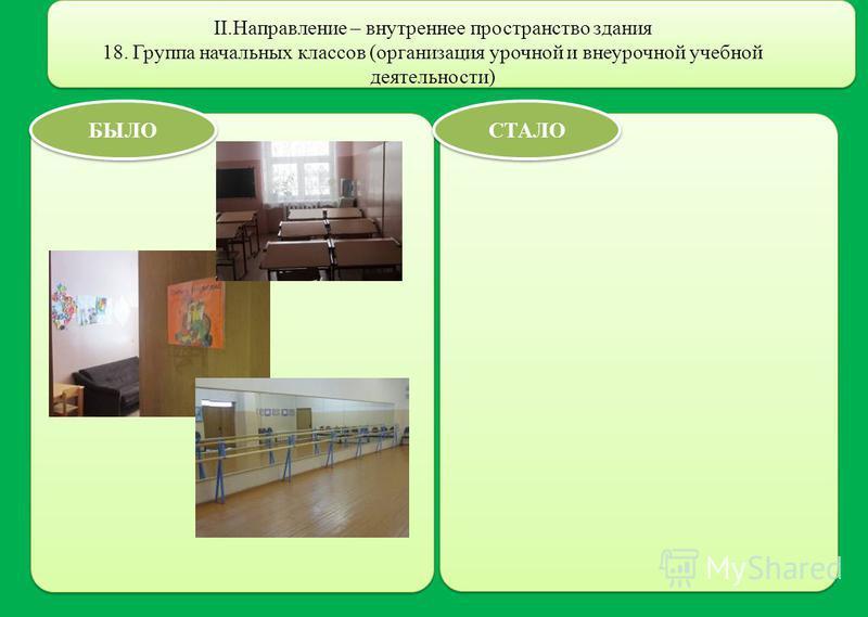 II.Направление – внутреннее пространство здания 18. Группа начальных классов (организация урочной и внеурочной учебной деятельности) БЫЛО СТАЛО