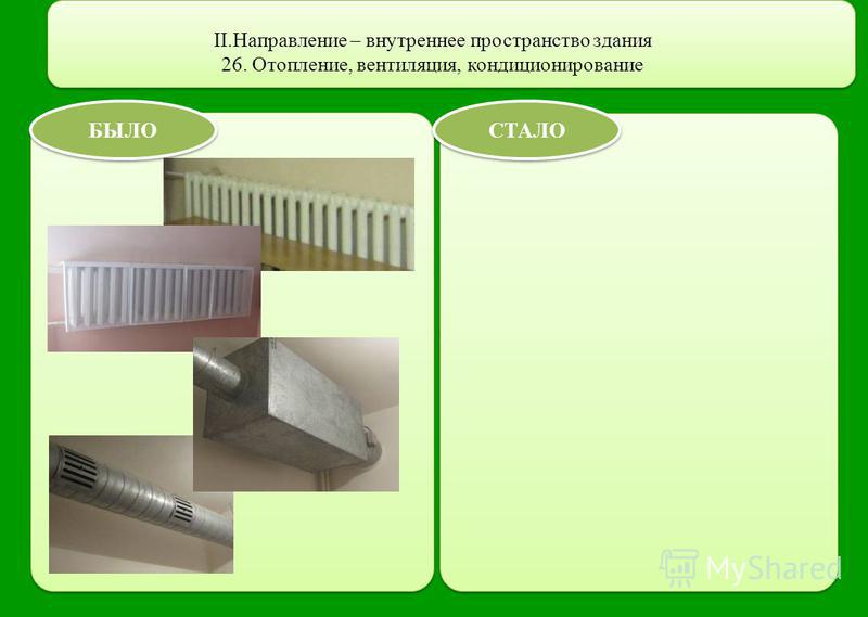 II.Направление – внутреннее пространство здания 26. Отопление, вентиляция, кондиционирование БЫЛО СТАЛО