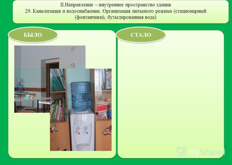 II.Направление – внутреннее пространство здания 29. Канализация и водоснабжение. Организация питьевого режима (стационарный (фонтанчики), бутилированная вода) БЫЛО СТАЛО