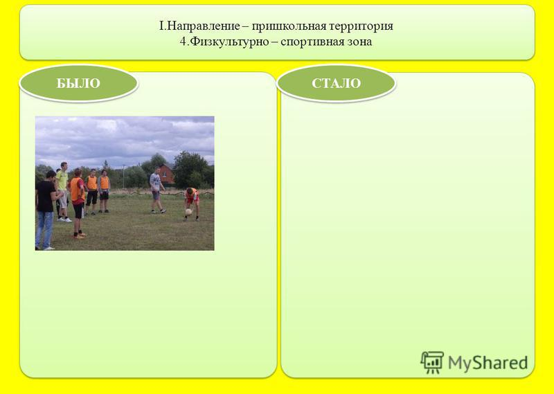 I.Направление – пришкольная территория 4. Физкультурно – спортивная зона БЫЛО СТАЛО