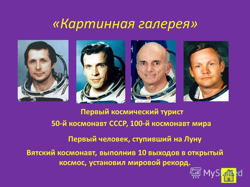 «Картинная галерея» 50-й космонавт СССР, 100-й космонавт мира Вятский космонавт, выполнив 10 выходов в открытый космос, установил мировой рекорд. Первый космический турист Первый человек, ступивший на Луну