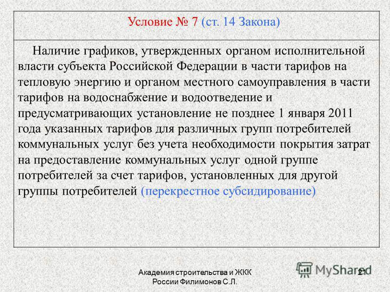 Академия строительства и ЖКК России Филимонов С.Л. 21 Условие 7 (ст. 14 Закона) Наличие графиков, утвержденных органом исполнительной власти субъекта Российской Федерации в части тарифов на тепловую энергию и органом местного самоуправления в части т
