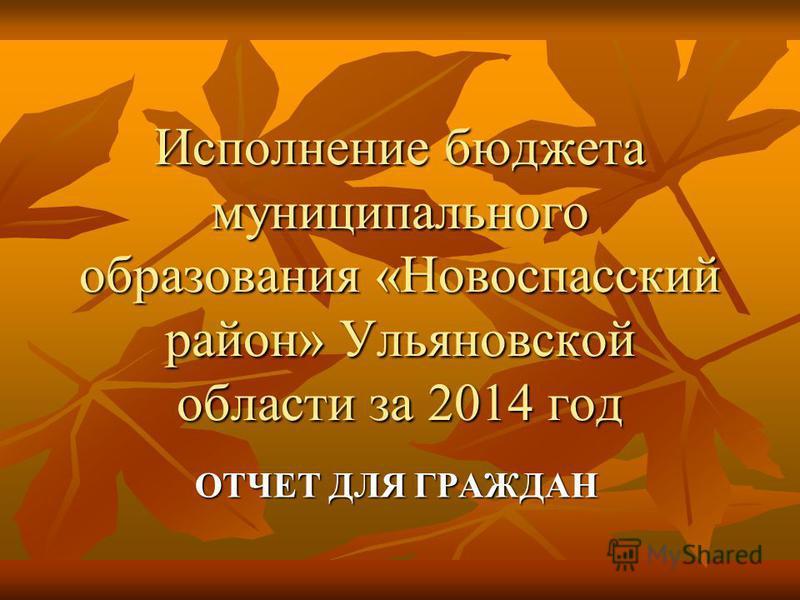 Исполнение бюджета муниципального образования «Новоспасский район» Ульяновской области за 2014 год ОТЧЕТ ДЛЯ ГРАЖДАН