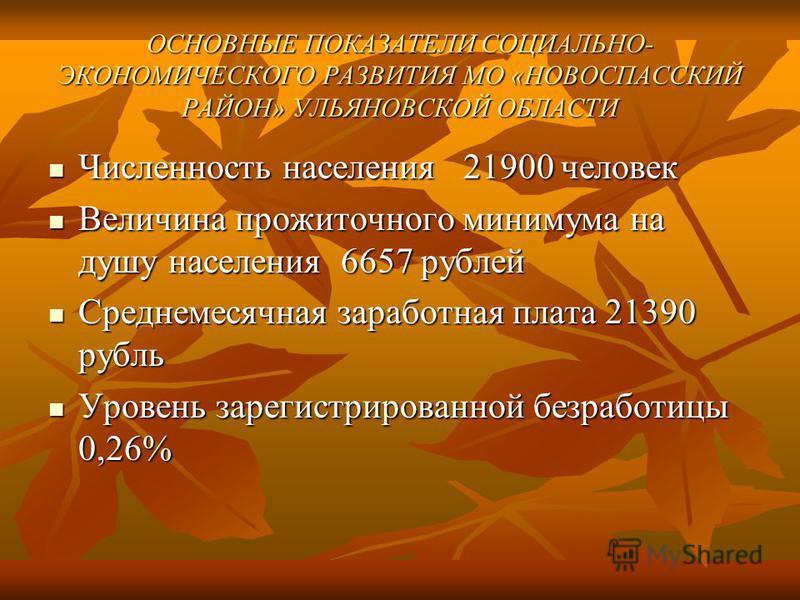 ОСНОВНЫЕ ПОКАЗАТЕЛИ СОЦИАЛЬНО- ЭКОНОМИЧЕСКОГО РАЗВИТИЯ МО «НОВОСПАССКИЙ РАЙОН» УЛЬЯНОВСКОЙ ОБЛАСТИ Численность населения 21900 человек Численность населения 21900 человек Величина прожиточного минимума на душу населения 6657 рублей Величина прожиточн