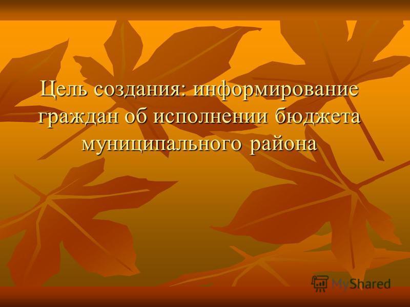 Цель создания: информирование граждан об исполнении бюджета муниципального района