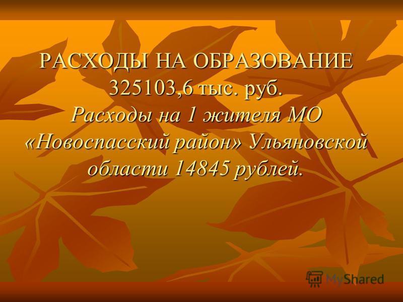 РАСХОДЫ НА ОБРАЗОВАНИЕ 325103,6 тыс. руб. Расходы на 1 жителя МО «Новоспасский район» Ульяновской области 14845 рублей.