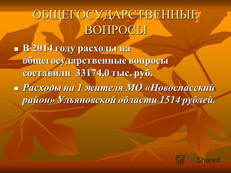 ОБЩЕГОСУДАРСТВЕННЫЕ ВОПРОСЫ В 2014 году расходы на общегосударственные вопросы составили 33174,0 тыс. руб. В 2014 году расходы на общегосударственные вопросы составили 33174,0 тыс. руб. Расходы на 1 жителя МО «Новоспасский район» Ульяновской области
