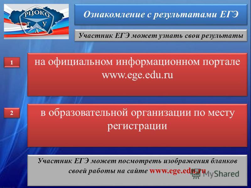 Ознакомление с результатами ЕГЭ Участник ЕГЭ может узнать свои результаты на официальном информационном портале www.ege.edu.ru на официальном информационном портале www.ege.edu.ru 1 1 в образовательной организации по месту регистрации 2 2 Участник ЕГ
