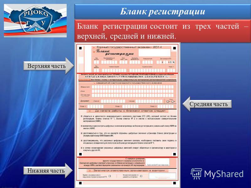 Бланк регистрации Бланк регистрации состоит из трех частей – верхней, средней и нижней. Верхняя часть Нижняя часть Средняя часть