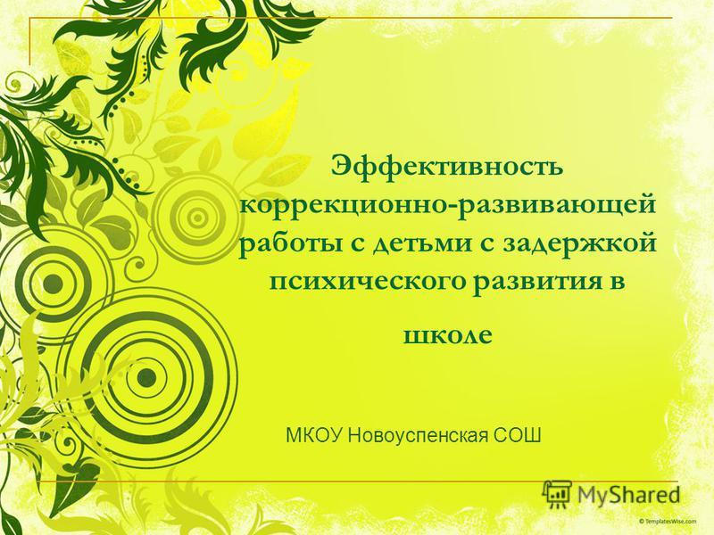Эффективность коррекционно-развивающей работы с детьми с задержкой психического развития в школе МКОУ Новоуспенская СОШ