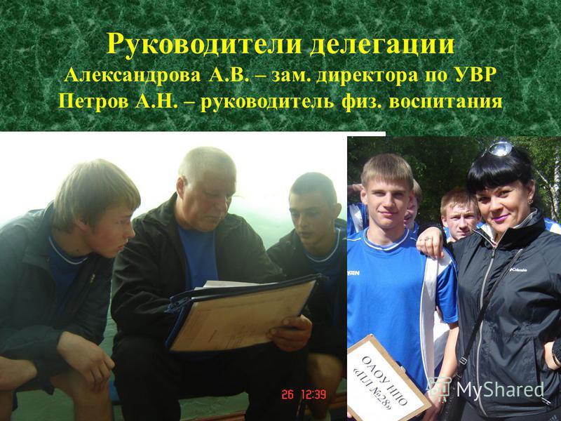 Руководители делегации Александрова А.В. – зам. директора по УВР Петров А.Н. – руководитель физ. воспитания