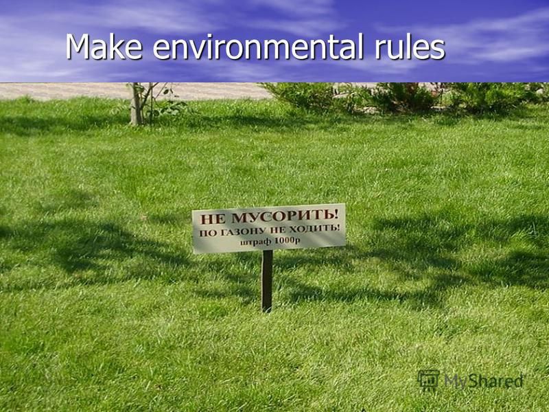Make environmental rules Make environmental rules
