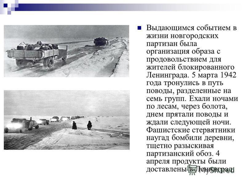 Выдающимся событием в жизни новгородских партизан была организация образа с продовольствием для жителей блокированного Ленинграда. 5 марта 1942 года тронулись в путь поводы, разделенные на семь групп. Ехали ночами по лесам, через болота, днем прятали