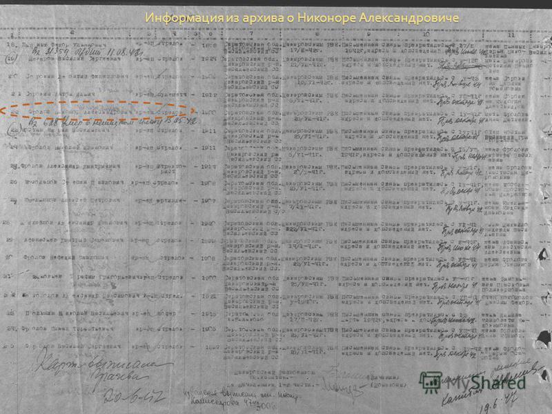 Информация из архива о Никоноре Александровиче