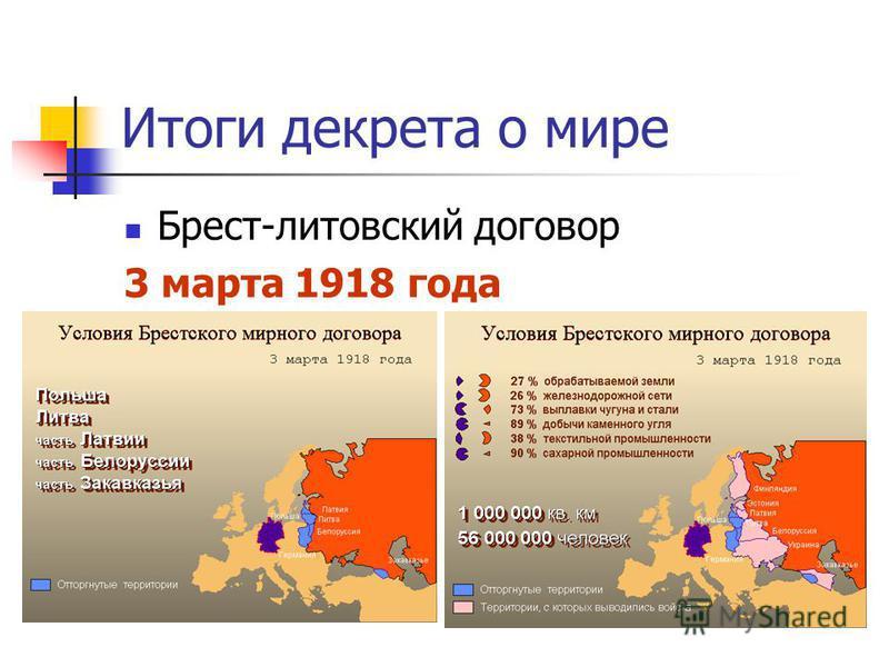 Итоги декрета о мире Брест-литовский договор 3 марта 1918 года