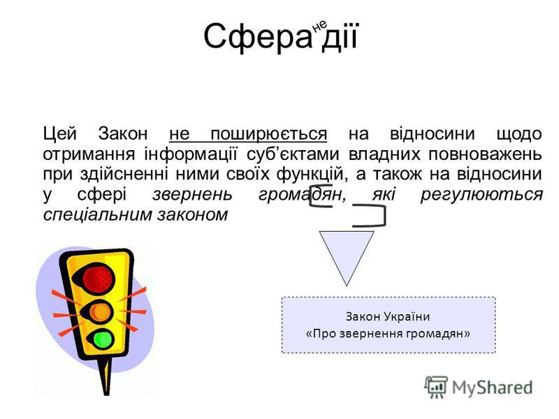 Цей Закон не поширюється на відносини щодо отримання інформації субєктами владних повноважень при здійсненні ними своїх функцій, а також на відносини у сфері звернень громадян, які регулюються спеціальним законом Сфера дії Закон України «Про зверненн