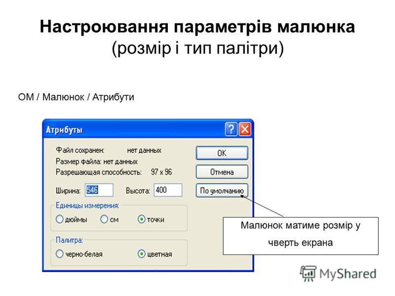 Настроювання параметрів малюнка (розмір і тип палітри) ОМ / Малюнок / Атрибути Малюнок матиме розмір у чверть екрана