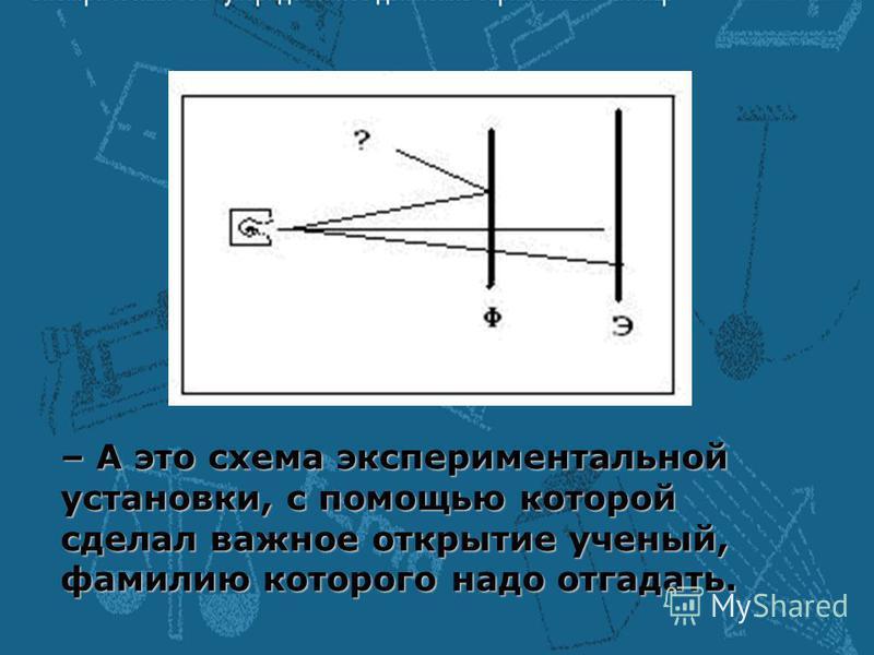 – А это схема экспериментальной установки, с помощью которой сделал важное открытие ученый, фамилию которого надо отгадать.