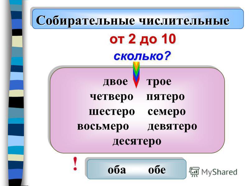 Собирательные числительные от 2 до 10 двое трое четверо пятеро шестеро семеро восьмеро девятеро десятеро двое трое четверо пятеро шестеро семеро восьмеро девятеро десятеро оба обе сколько?