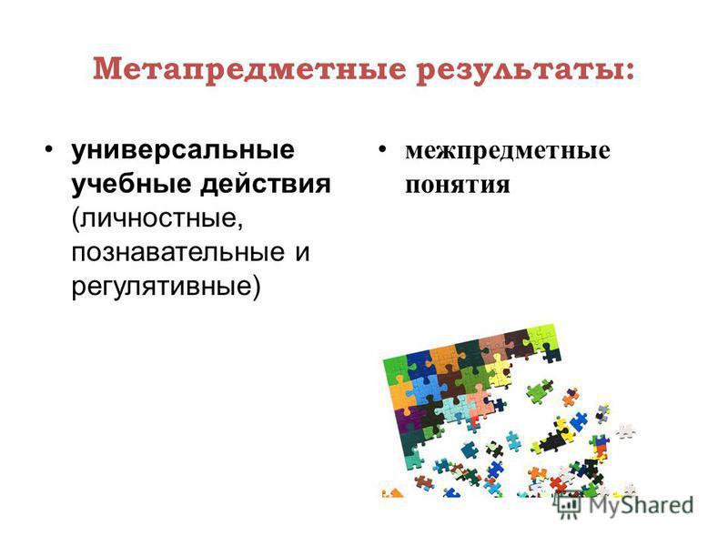 Метапредметные результаты: универсальные учебные действия (личностные, познавательные и регулятивные) межпредметные понятия