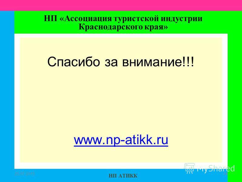 НП АТИКК Спасибо за внимание!!! www.np-atikk.ru 25.07.201514 НП «Ассоциация туристской индустрии Краснодарского края»