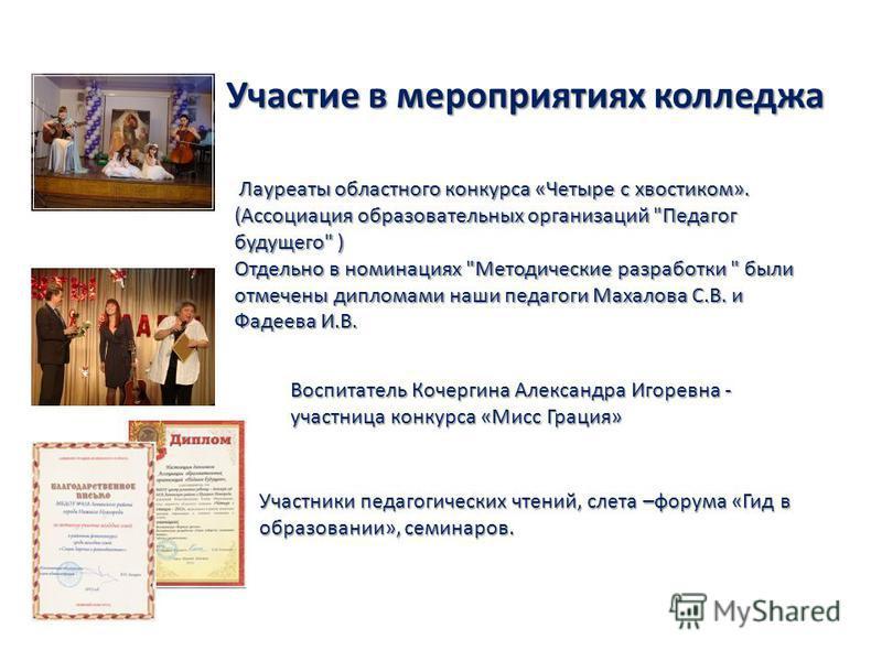 Участие в мероприятиях колледжа Лауреаты областного конкурса «Четыре с хвостиком». (Ассоциация образовательных организаций
