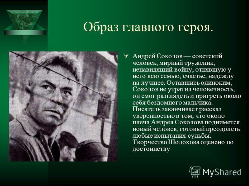 Образ главного героя. Андрей Соколов советский человек, мирный труженик, ненавидящий войну, отнявшую у него всю семью, счастье, надежду на лучшее. Оставшись одиноким, Соколов не утратил человечность, он смог разглядеть и пригреть около себя бездомног