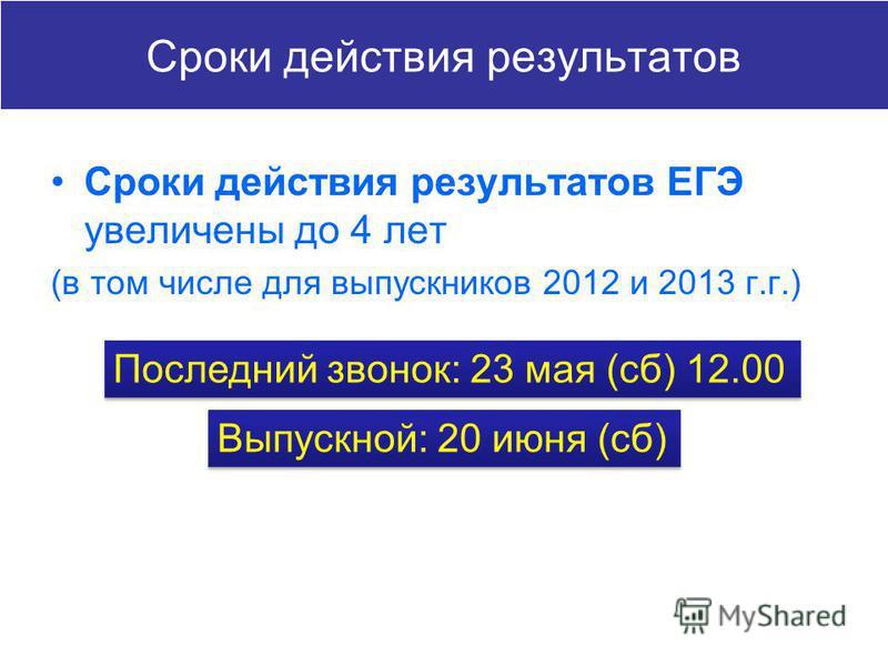 Сроки действия результатов Сроки действия результатов ЕГЭ увеличены до 4 лет (в том числе для выпускников 2012 и 2013 г.г.) Последний звонок: 23 мая (сб) 12.00 Выпускной: 20 июня (сб)