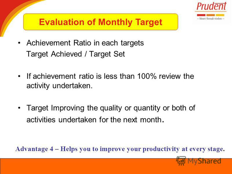 Achievement Ratio in each targets Target Achieved / Target Set If achievement ratio is less than 100% review the activity undertaken. Target Improving the quality or quantity or both of activities undertaken for the next month. Advantage 4 – Helps yo