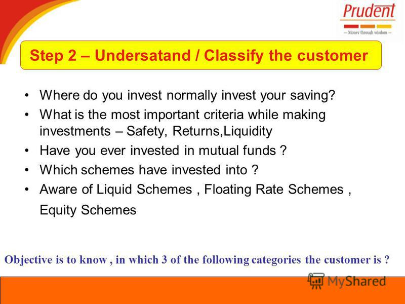 Where do you invest normally invest your saving? What is the most important criteria while making investments – Safety, Returns,Liquidity Have you ever invested in mutual funds ? Which schemes have invested into ? Aware of Liquid Schemes, Floating Ra